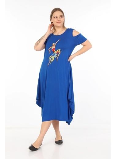 Womenice Elbise Mavi